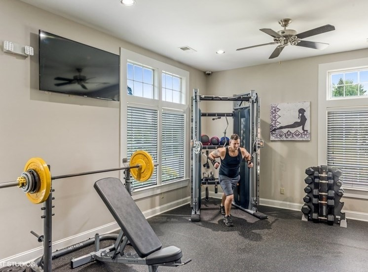 24-Hour Fitness Center With Free Weights at Brittany Commons Apartments, Virginia, 22553